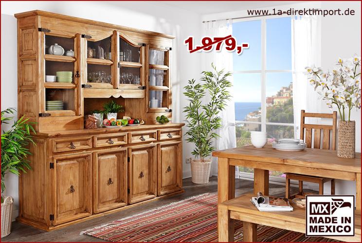 xxl mexico m bel buffet vitrine schrank pinie massiv 1a direktimport. Black Bedroom Furniture Sets. Home Design Ideas