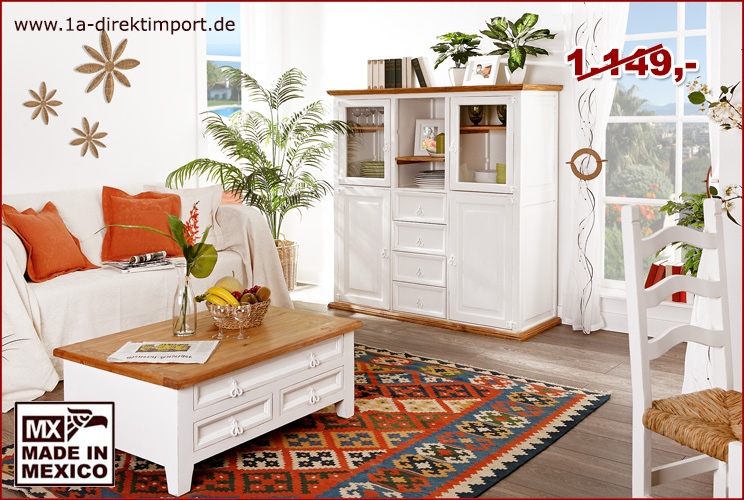 highboard sideboard schrank mexico wei natur shabby impressionen 1a direktimport. Black Bedroom Furniture Sets. Home Design Ideas