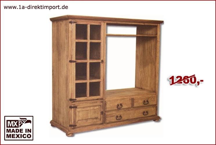 TV-Schrank - 1 Glas-, 1 Holztür, 3 Schübe