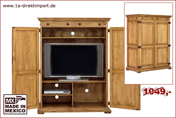 tv schrank phonoschrank mexico hacienda pinie 1a direktimport. Black Bedroom Furniture Sets. Home Design Ideas
